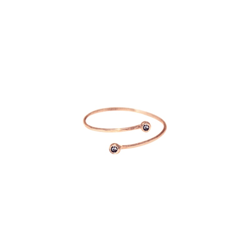 9 Kt rose gold ring with Black Diamond