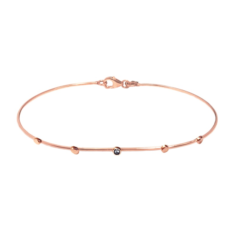 9 Kt rose gold bracelet - Black Diamond