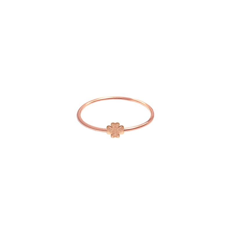 9 Kt rose gold ring - Flex - Four-Leaved Clover